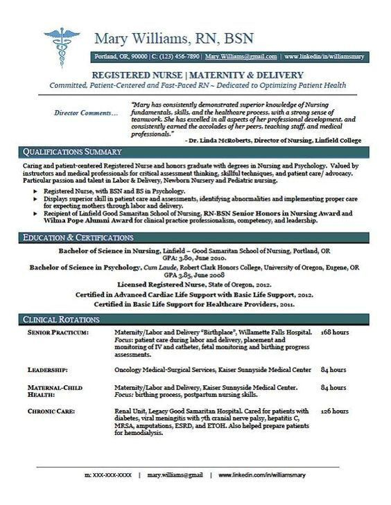 sample new rn resume | RN New Grad Nursing Resume | Prof | Pinterest