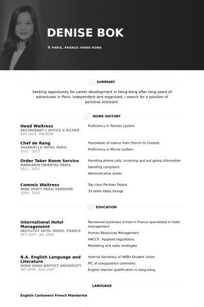 Waitress Resume samples - VisualCV resume samples database