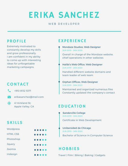 Blue Minimal Infographic Resume - Templates by Canva