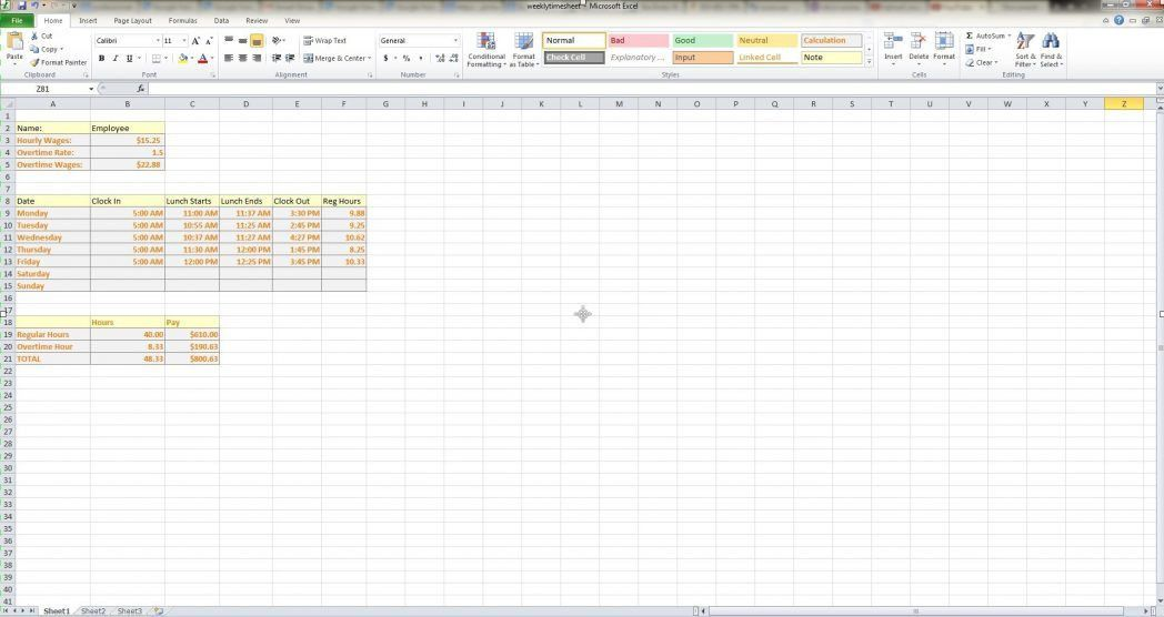 Excel Time Tracking Sheet Template Paralegal Billable Hours Weekly ...