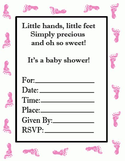 Free Baby Shower Footprint Invitation - Just Print and Use!