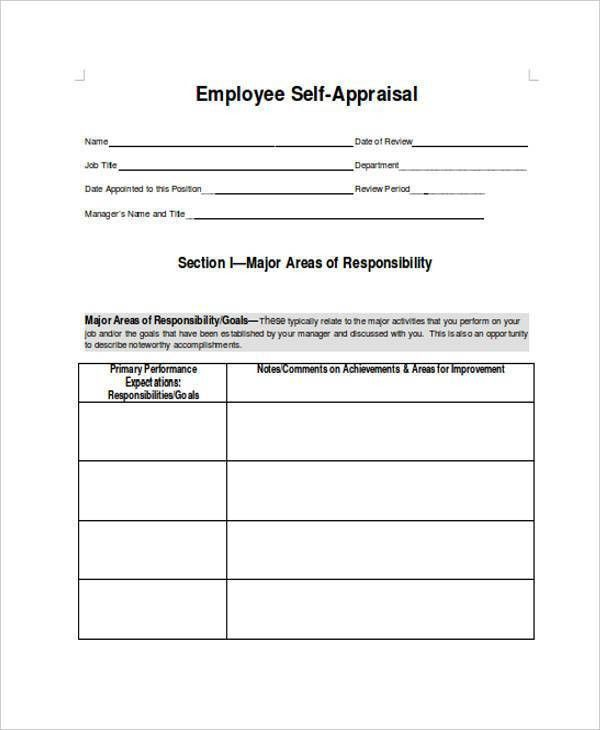 Sample Employee Performance Appraisal Forms - 8+ Free Documents in ...
