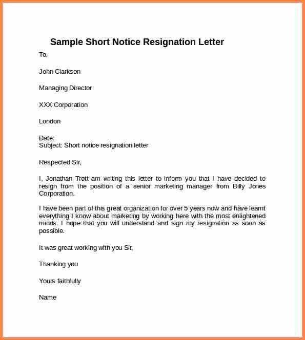 6+ short resignation letters samples | Resign Letter Job