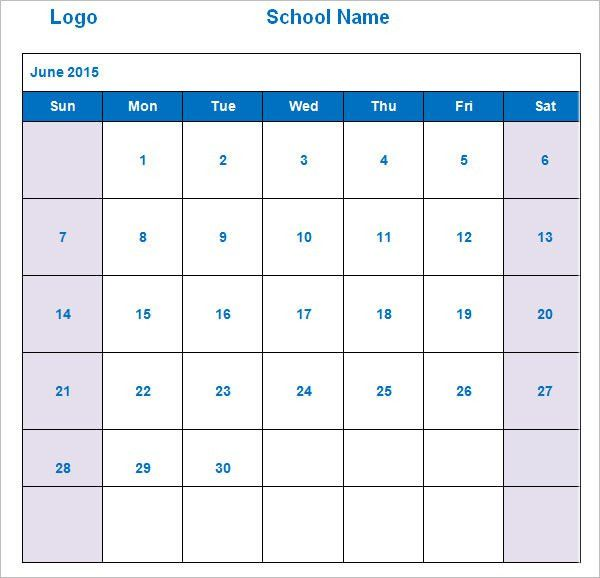 10+ School Calendar Templates - Free Sample, Example, Format ...