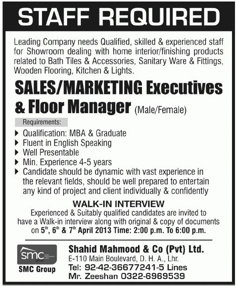 Jobs In Marketing Jobs published in Jang Newspaper on 3-April-2013 ...