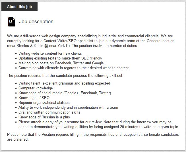 Canadian company's sexist job ad sparks controversy online