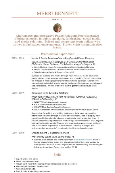 Event Planning Resume samples - VisualCV resume samples database
