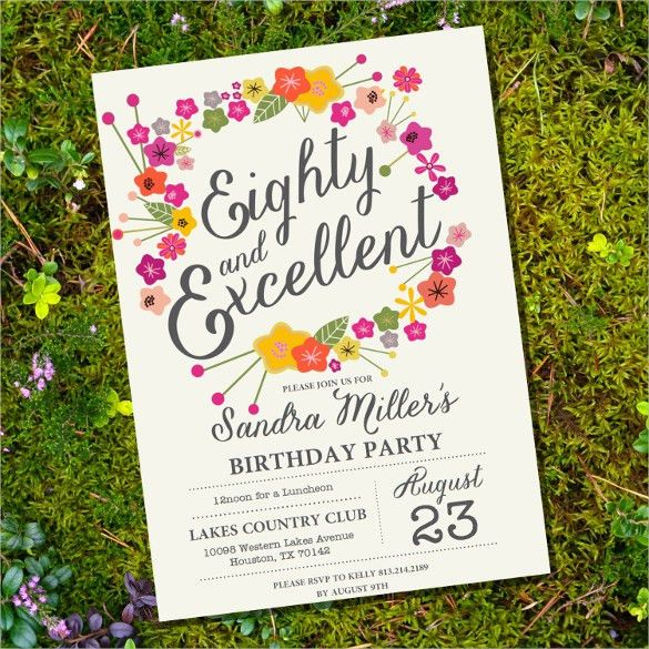 22+ 80th Birthday Invitation Templates – Free Sample, Example ...