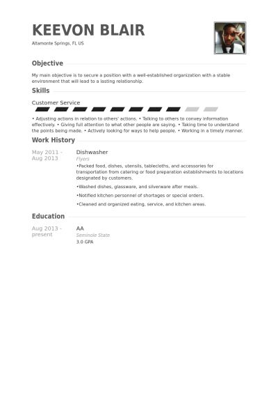 Dishwasher Resume samples - VisualCV resume samples database