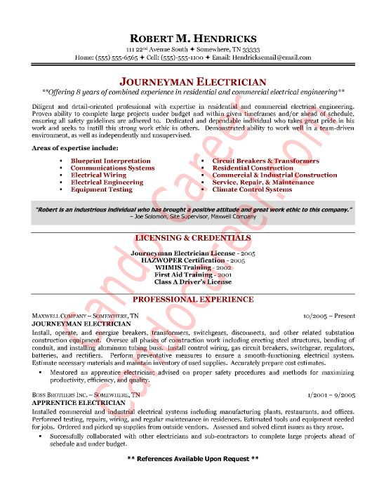 Journeyman Electrician Cover Letter Sample