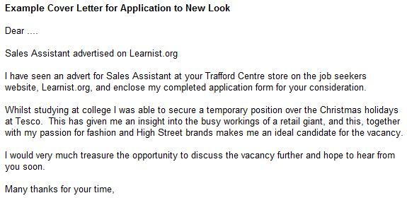 Example Cover Letter for Application to New Look - forums.learnist.org