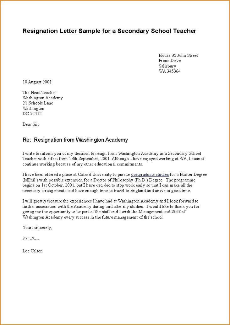 Resignation Letter Template. 10 Sample Resignation Letter Basic ...