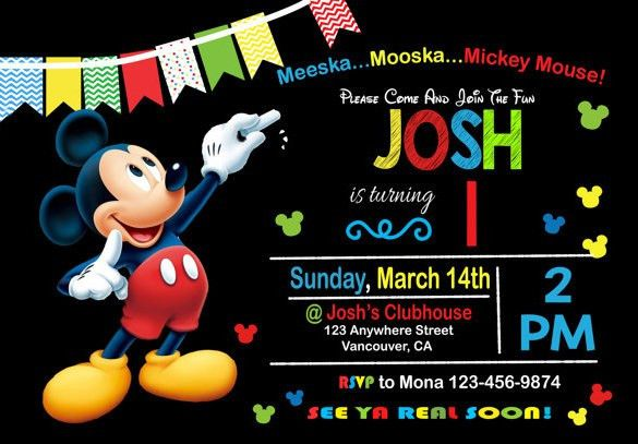 Birthday Invitation Mickey Mouse Template – orderecigsjuice.info