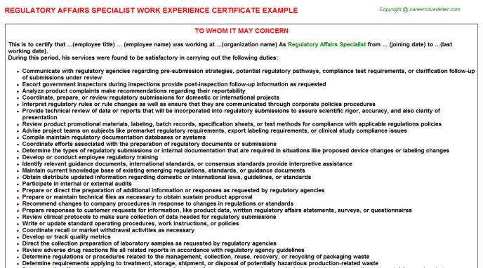 Regulatory Affairs Specialist Work Experience Certificate