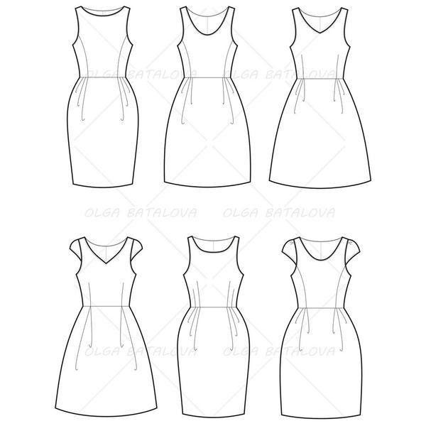 Women's Empire Waist Dress Fashion Flat Template – Illustrator Stuff