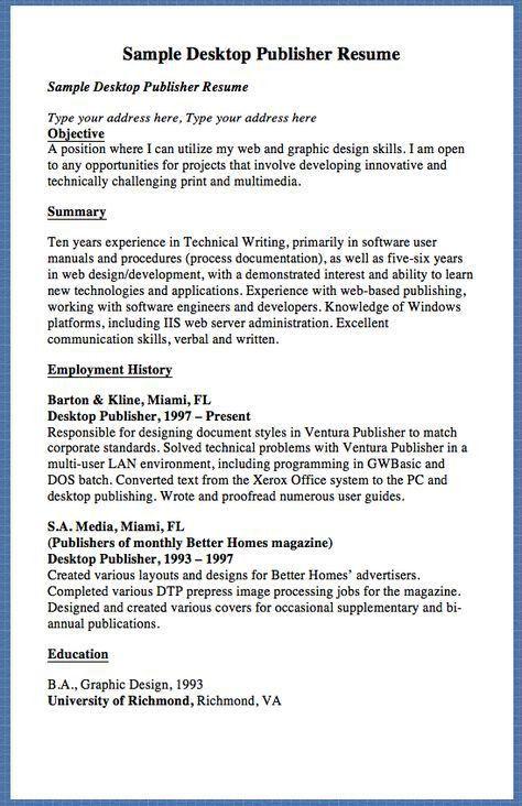 Sample Desktop Publisher Resume Sample Desktop Publisher Resume ...