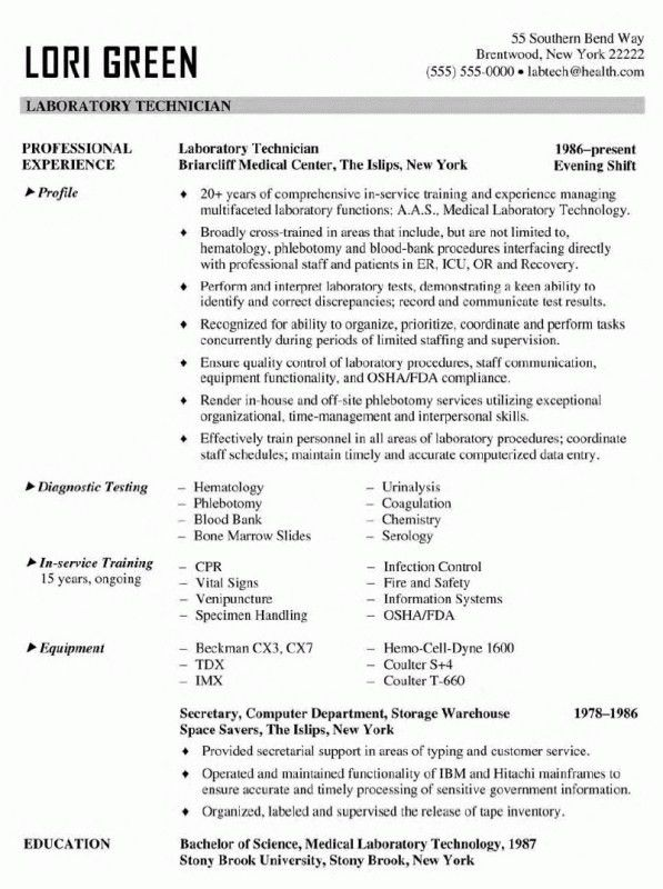 Medical Lab Technician Resume Sample | Samples Of Resumes  Clinical Laboratory Scientist Resume