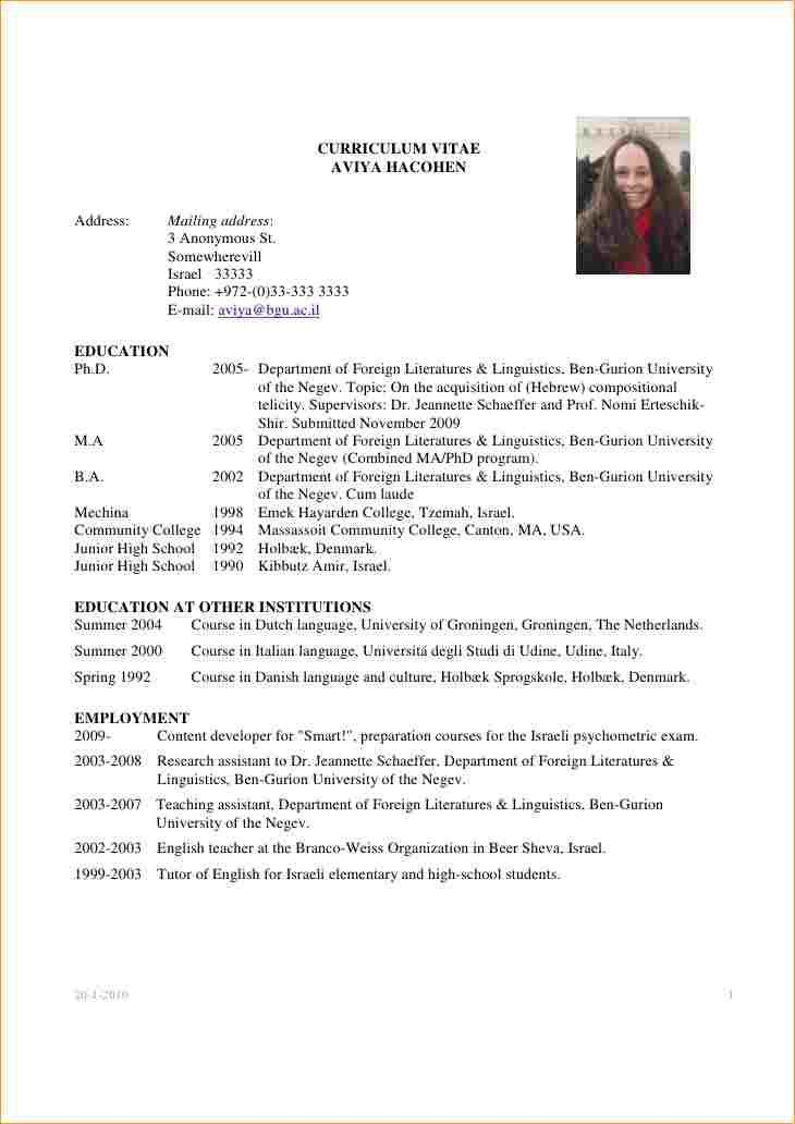 Academic Resume Template | haadyaooverbayresort.com