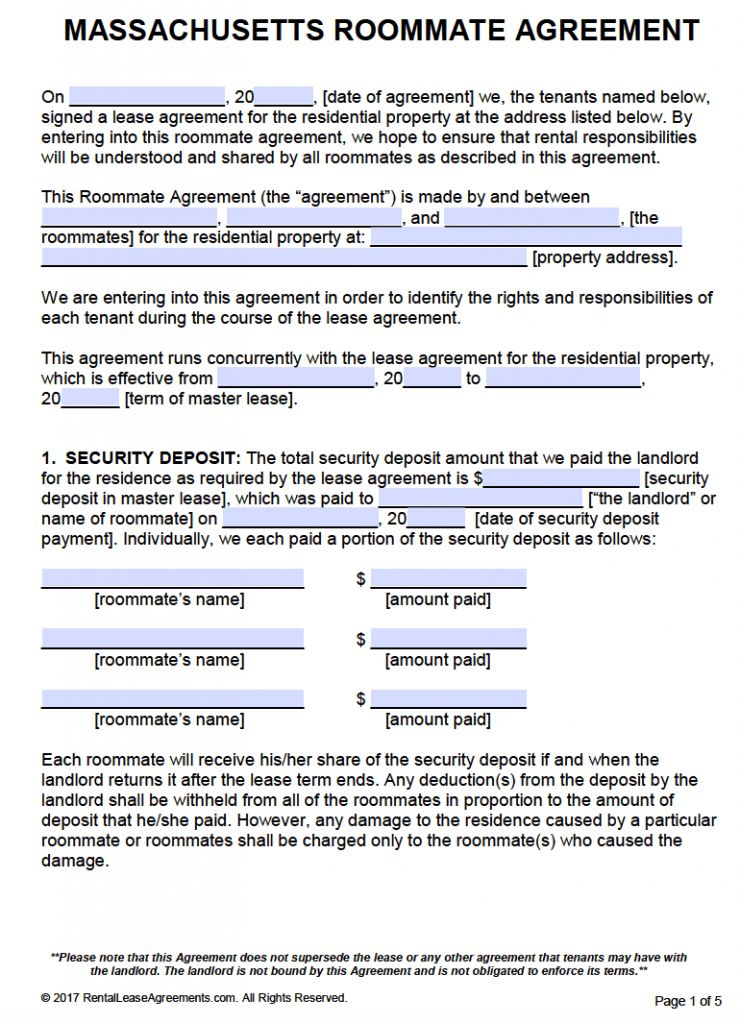 Free Massachusetts Roommate Agreement Template – PDF – Word