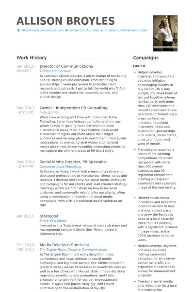 Director Of Communications Resume samples - VisualCV resume ...
