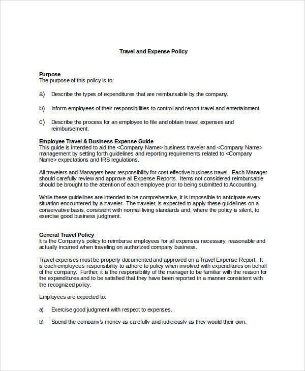 travel policy for employees sample   Travel Guide