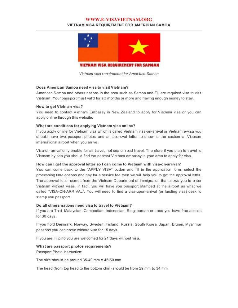 Vietnam visa requirement for american samoa