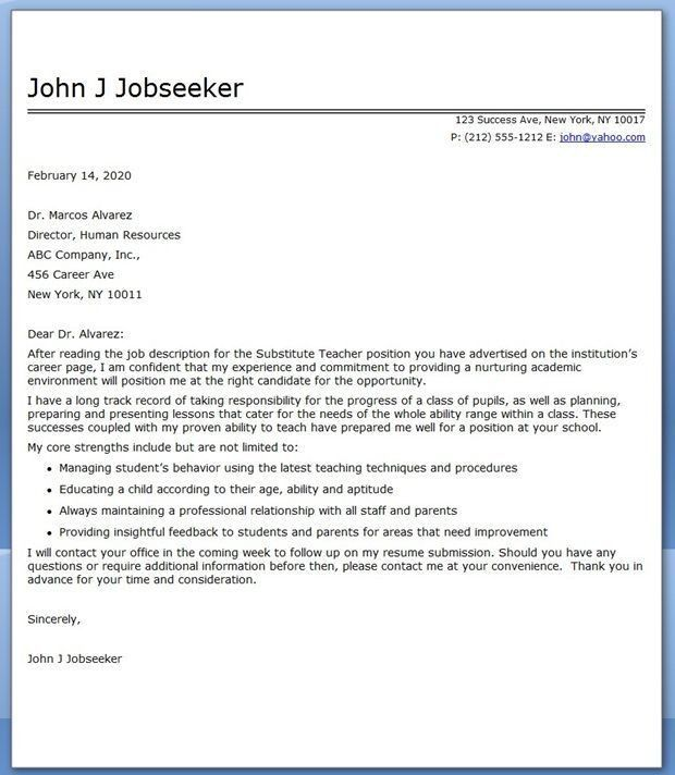 Teacher Cover Letter Example. Middle School English Teacher Resume ...