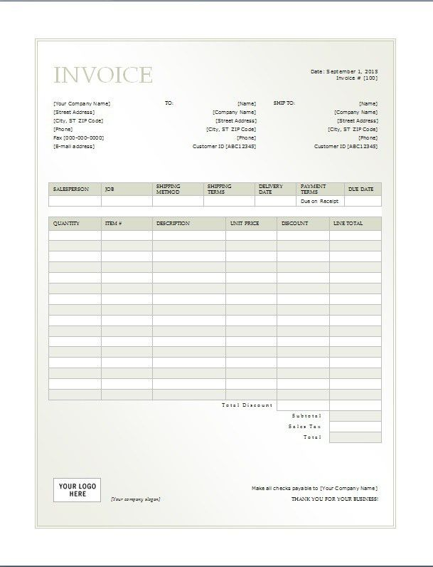 Cash Invoice Template - Printable Word, Excel Invoice Templates ...