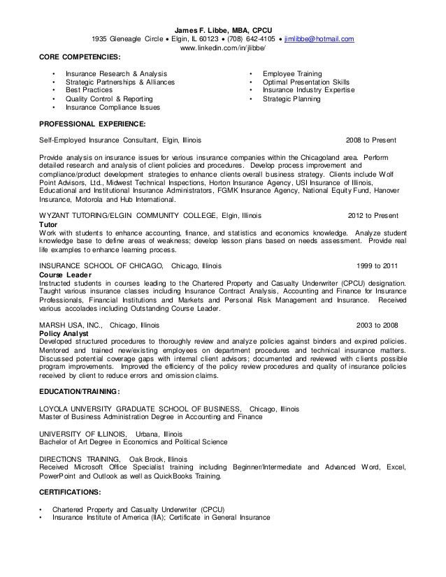 James Libbe Compliance Consultant Resume