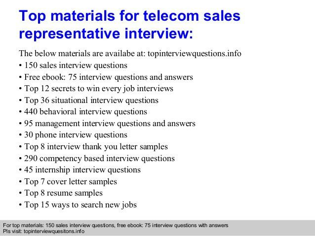 Telecom Sales Representative Interview Questions And Answers
