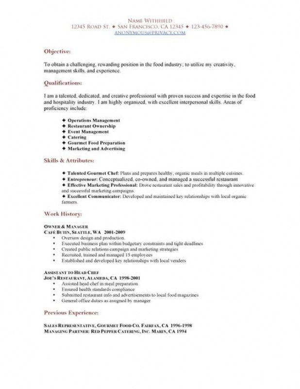 Restaurant Resume Sample – Resume Examples