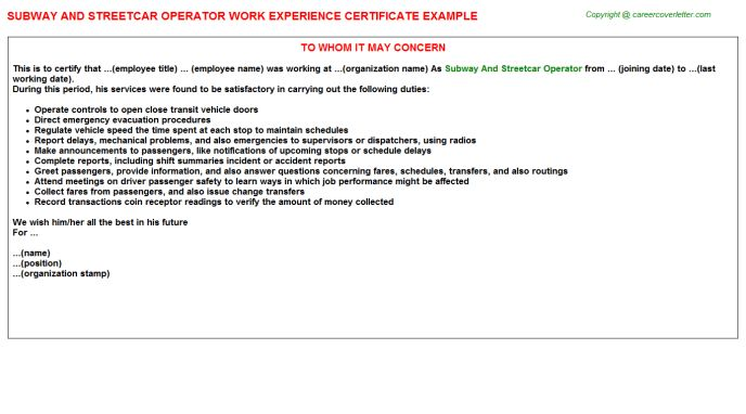 Subway Work Experience Letters
