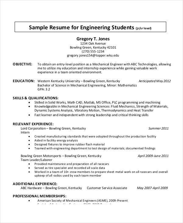 Resume Format Examples For Students. New School Resume Formats ...
