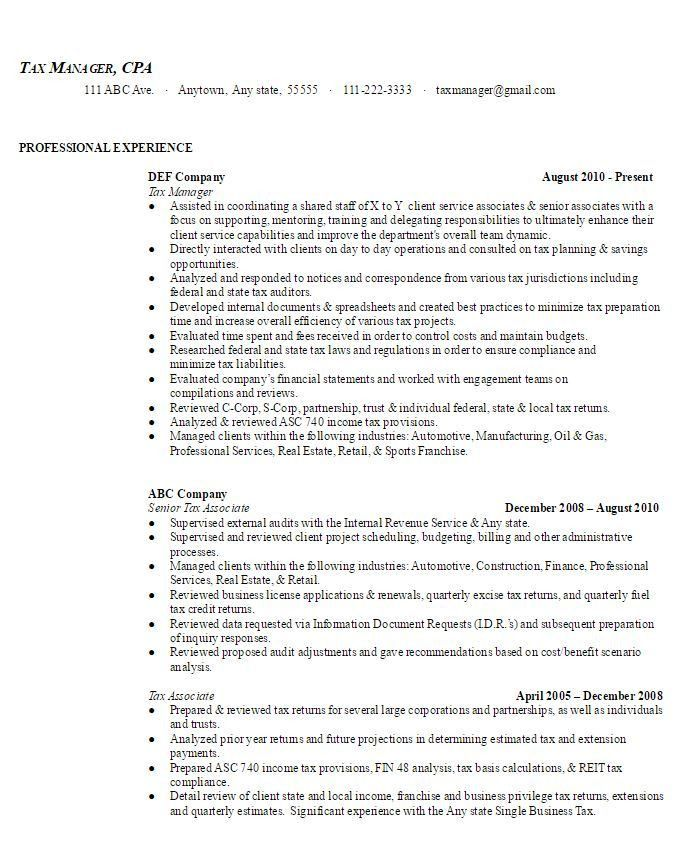 Tax Manager Sample Resume | AmbrionAMBRION - Minneapolis Executive ...