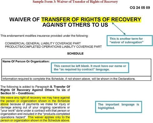 Sample Form 3 Waiver of Transfer of Rights of Recovery Against ...