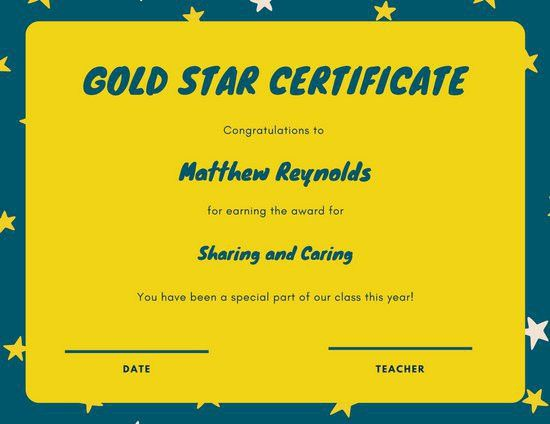 Dark Teal and Yellow Star Kinder Student Certificate - Templates ...