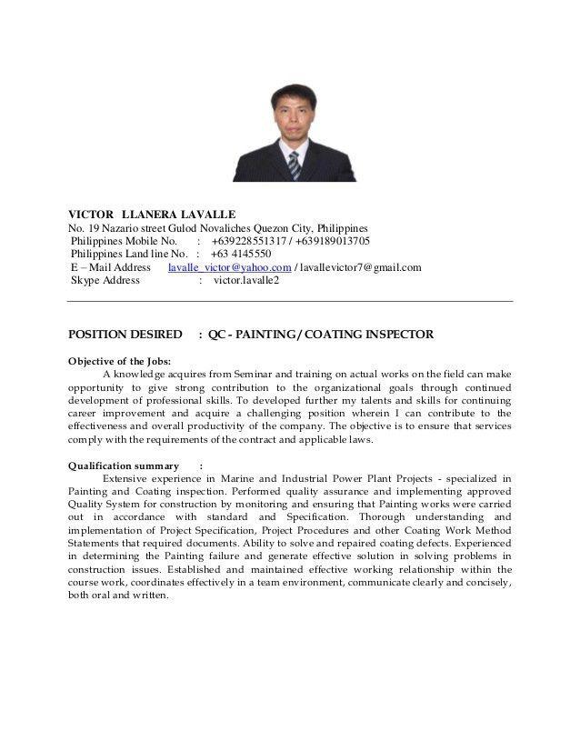 VICTOR L. LAVALLE - Resume qa-qc Inspector