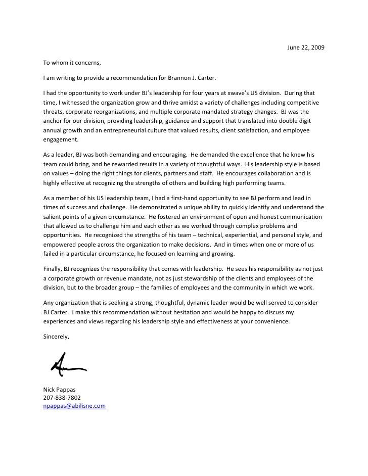 Leadership Recommendation Letter. Professional References Template ...