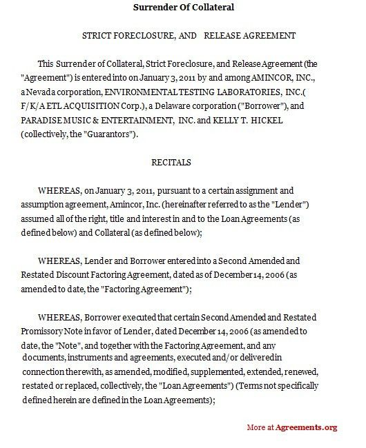Surrender of Collateral Agreement, Sample Surrender of Collateral ...