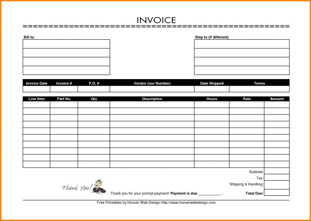 Invoice Template Printable | Template ~ Ptasso