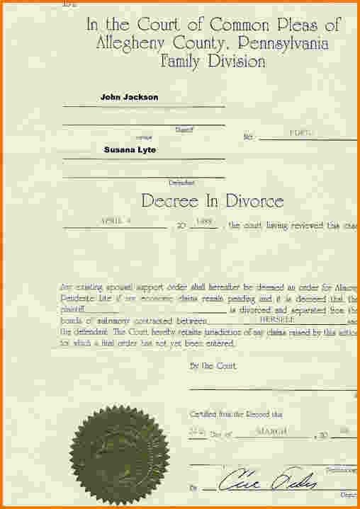 3 divorce decree sample | Divorce Document