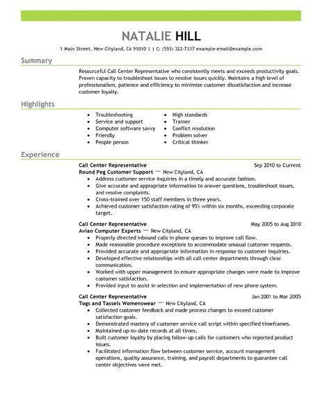 Download Customer Service Call Center Resume ...