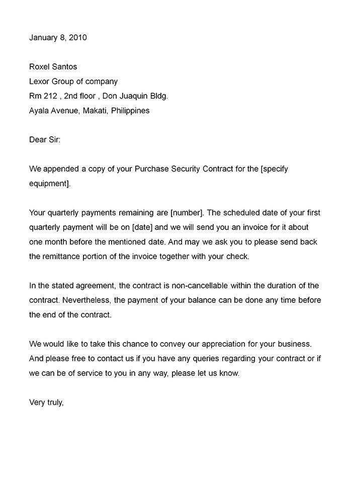Business Contract Letter Sample | The Best Letter Sample