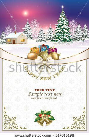 Vector Christmas Greeting Card Winter Scene Stock Vector 345624326 ...