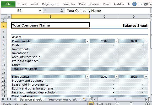 Download Editable Sample Balance Sheet for Excel
