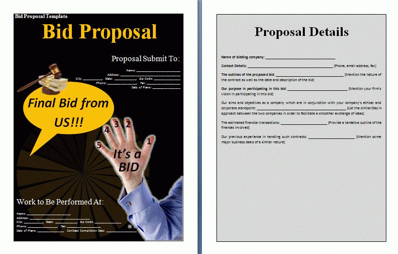 Bid Proposal Template | Formsword: Word Templates & Sample Forms