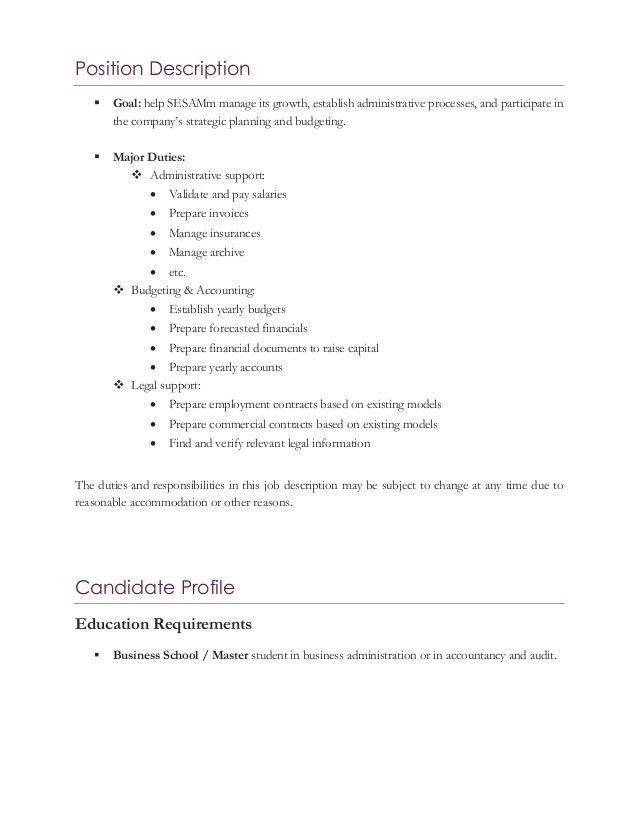 SESAMm Job Description: Business Administration Assistant