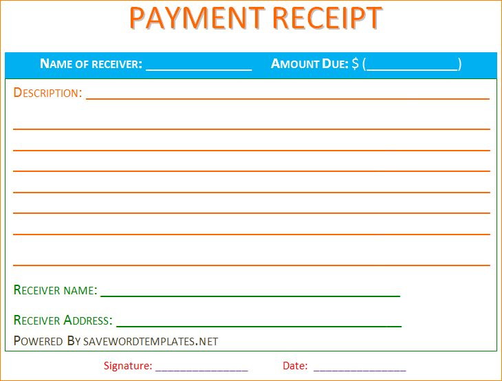 7+ receipt template word | Outline Templates