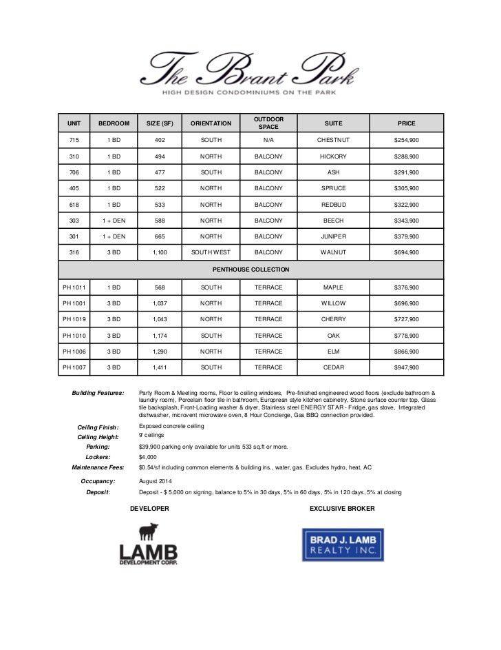 Brant park october 21 11 sample price list