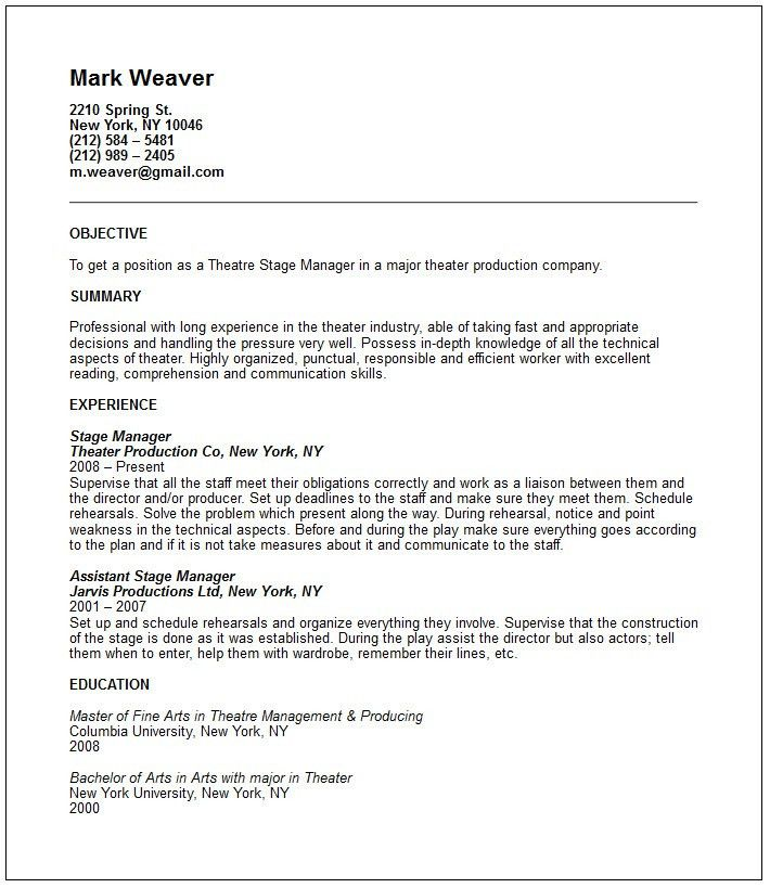 Theatre Resume Example - Free templates collection